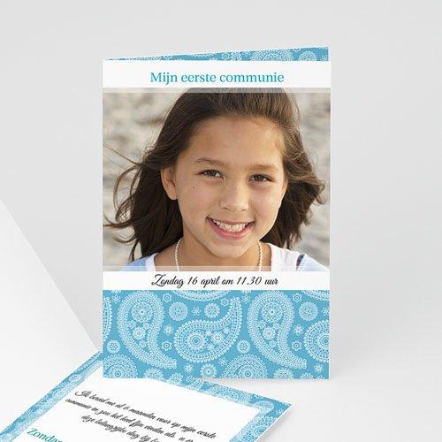Uitnodigingen Communie Meisje Paisley blauw