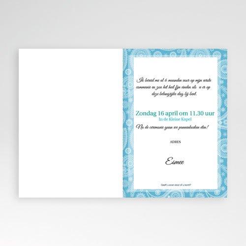 Uitnodigingen Communie Meisje Paisley blauw pas cher