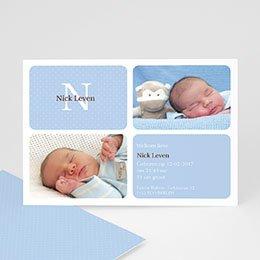 Geboortekaartje jongen Blauw vierluik
