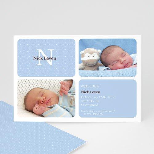 Geboortekaartjes Jongen Blauw vierluik