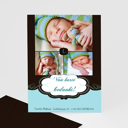 Bedankkaartje geboorte zoon Onze bonbon, zoon