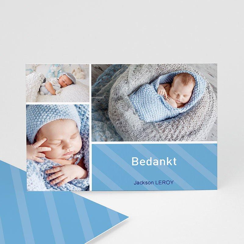 Bedankkaartje geboorte zoon Hemelblauwe stralen