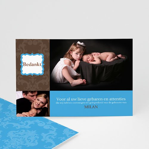Bedankkaartje geboorte zoon - born 2 design 10326 thumb