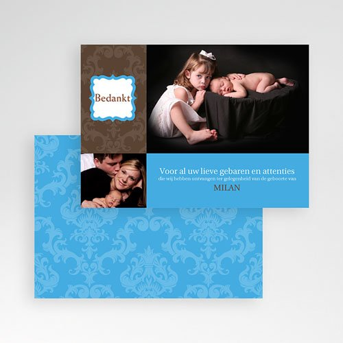 Bedankkaartje geboorte zoon - born 2 design 10327 thumb