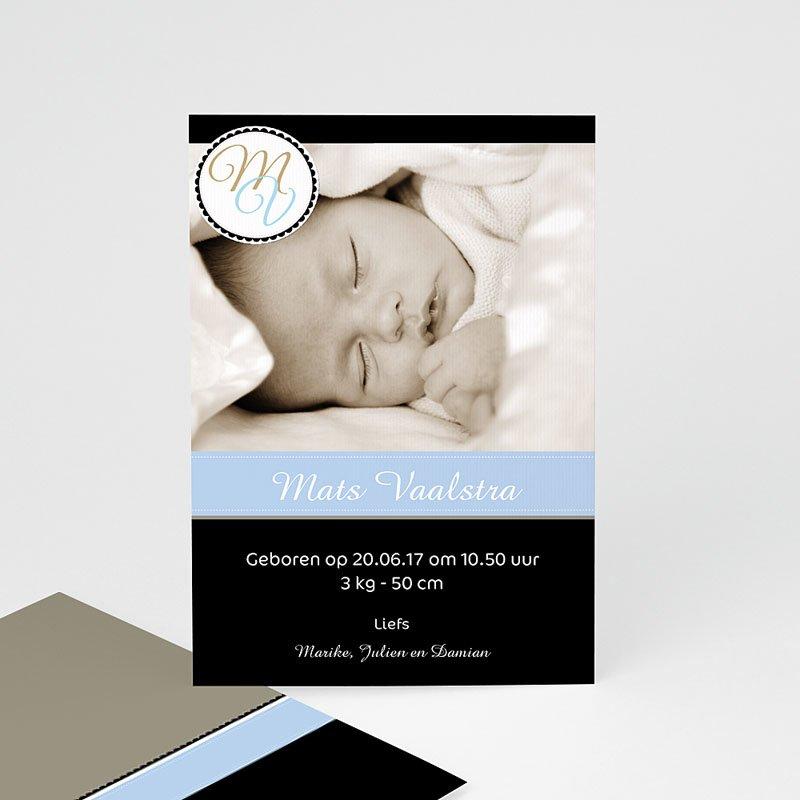 Geboortekaartje meisje - Diep mint blauw 10334 thumb