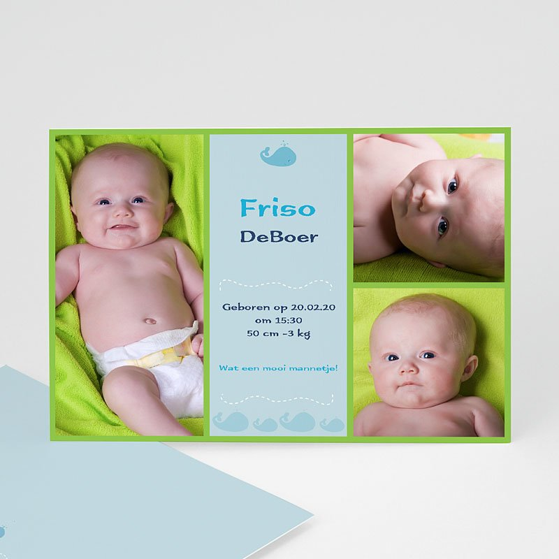 Geboortekaartjes Jongen Lente-oogst, blauw