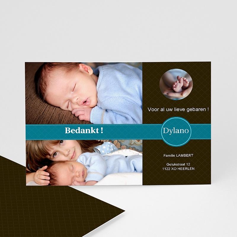 Bedankkaartje geboorte zoon - Nieuw uit de doos, blauw 10350 thumb