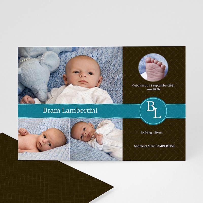 Geboortekaartje jongen - Nieuw uit de doos, blauw 10352 thumb