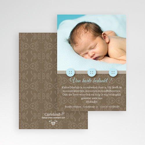 Bedankkaartje geboorte zoon - Chic met blauwe knoopjes 10355 thumb