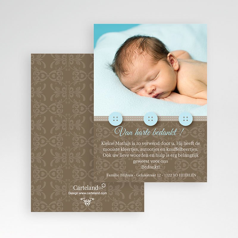 Bedankkaartje geboorte zoon Chic met blauwe knoopjes pas cher