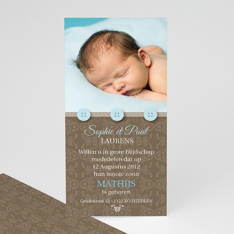 Geboortekaartje jongen - Chic met blauwe knoopjes 10356 thumb