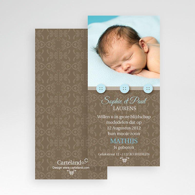 Geboortekaartje jongen - Chic met blauwe knoopjes 10357 thumb