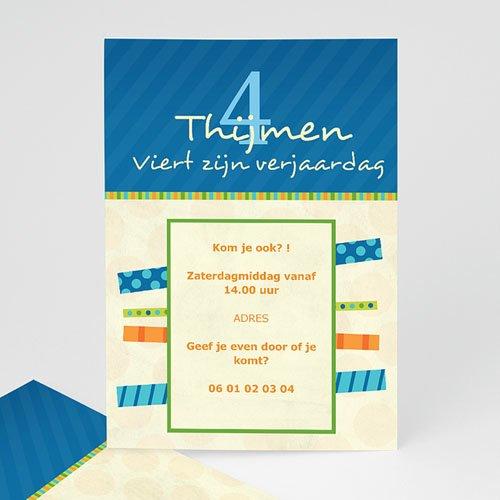 Verjaardagskaarten jongens - Blauwe balken uitnodiging 10364 thumb