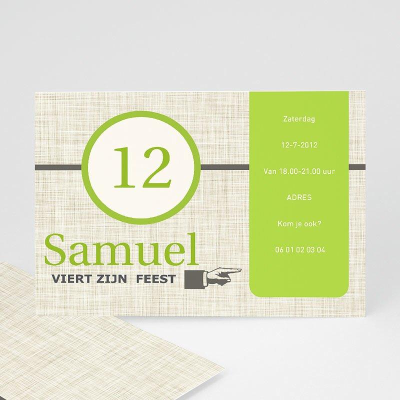 Uitnodigingen Verjaardag Jongen Groen papyrus