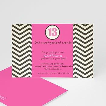 Verjaardagskaarten meisjes - Psychedelische uitnodiging, roze - 1