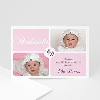 Bedankkaart doopviering meisje - Vier maal roze - 1
