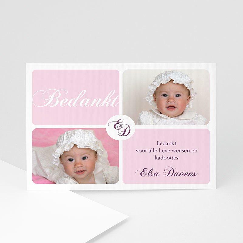 Bedankkaart doopviering meisje - Vier maal roze 10376 thumb