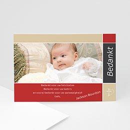 Bedankkaart doopviering jongen Bruidsuikers blauw roze