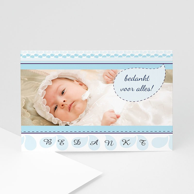 Bedankkaart doopviering jongen Hemels blauw