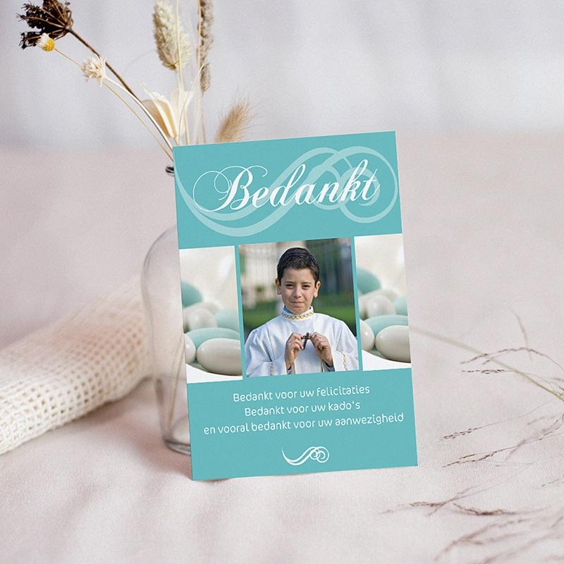 Bedankkaart communie jongen - Turquoise en bruidsuiker 10398 thumb