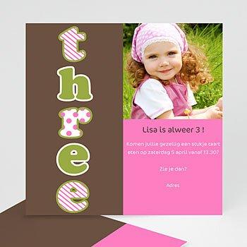 Verjaardagskaarten meisjes - Drie jaar, meisje - 1