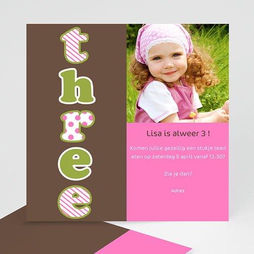 Uitnodigingen Verjaardag Meisjes Drie jaar, meisje