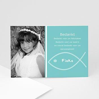 Bedankkaart communie meisje - Als twee visjes - 1
