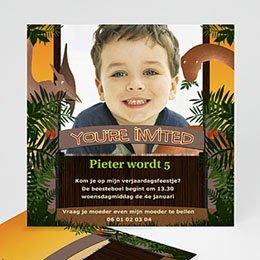 Verjaardagskaarten jongens Dinosaurus uitnodiging