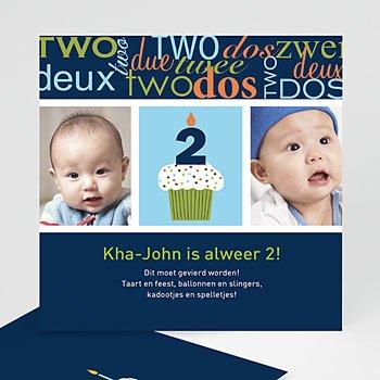 Verjaardagskaarten jongens - Kaarsje met 2, blauw - 1