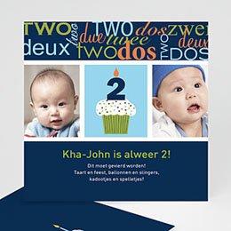 Uitnodiging Verjaardag kind Kaarsje met 2, blauw