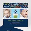 Uitnodigingen Verjaardag Jongen Kaarsje met 2, blauw
