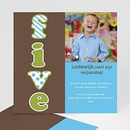 Uitnodiging Verjaardag kind Vijf jaar, jongen