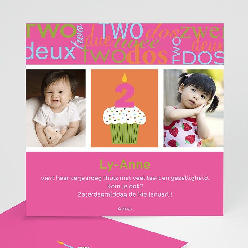 Uitnodigingen Verjaardag Meisje Kaarsje met 2