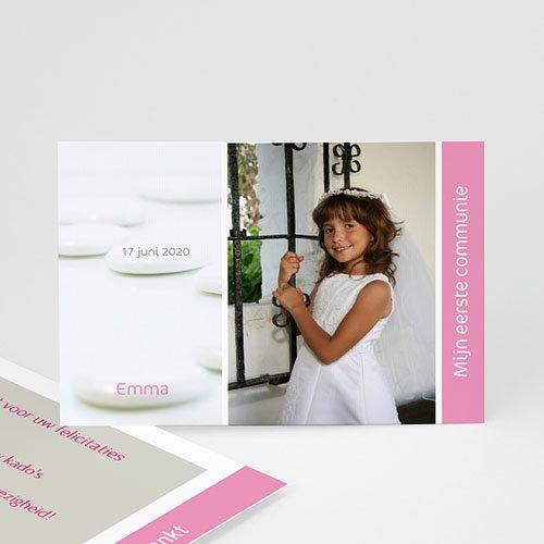 Bedankkaart communie meisje Bruidsuikers roze