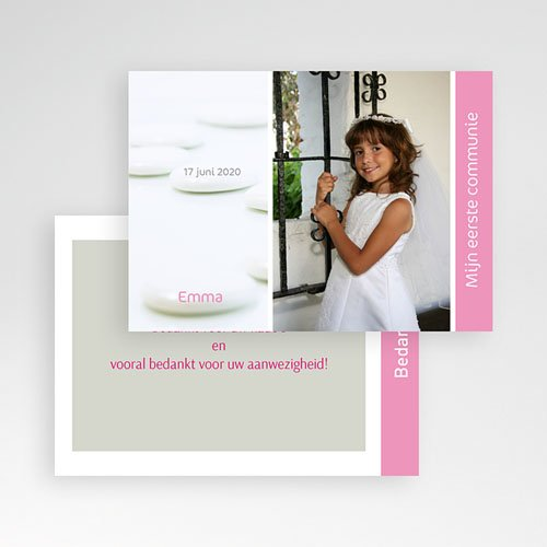 Bedankkaart communie meisje Bruidsuikers roze pas cher