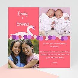 Uitnodiging Verjaardag kind Roze rood met zwaan