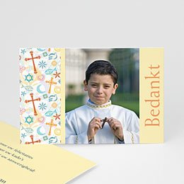 Bedankkaart communie jongen Tussen de symboliek