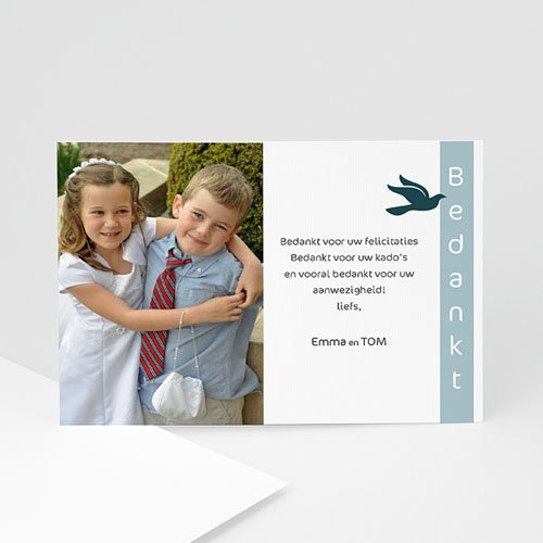 Bedankkaart communie jongen Communieviering staand