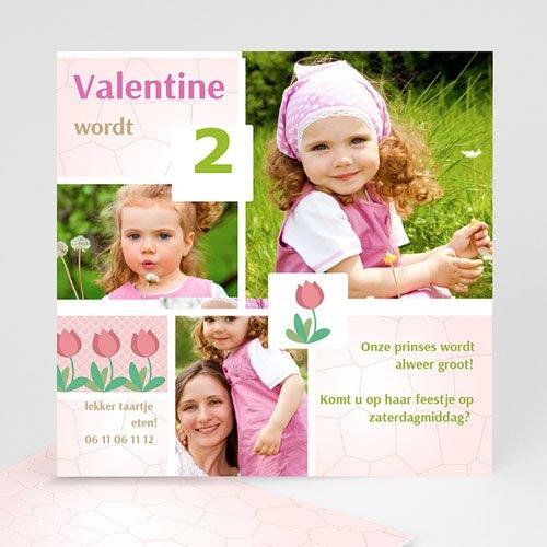 Uitnodigingen Verjaardag Meisje Roze tulp