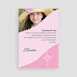 Uitnodiging communie meisje Roze om de hoek
