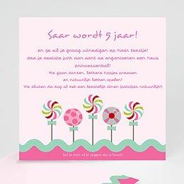 Uitnodiging Verjaardag kind Roze windmolentjes