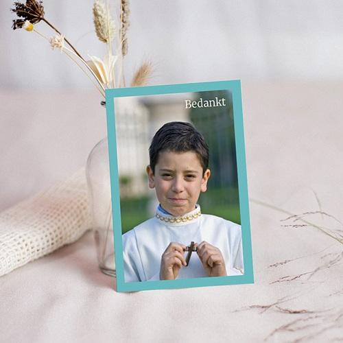 Bedankkaart communie jongen - Turquoise en bruidsuiker 10468 thumb