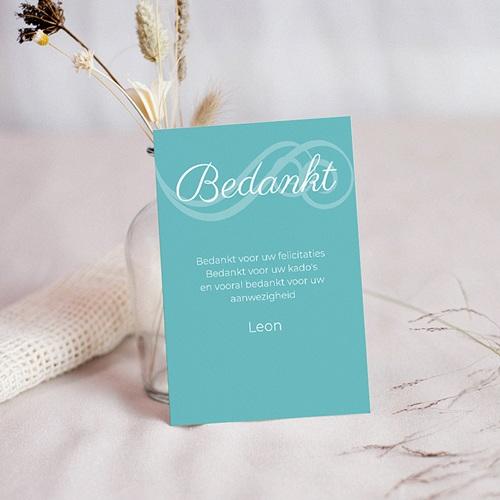 Bedankkaart communie jongen - Turquoise en bruidsuiker 10469 thumb