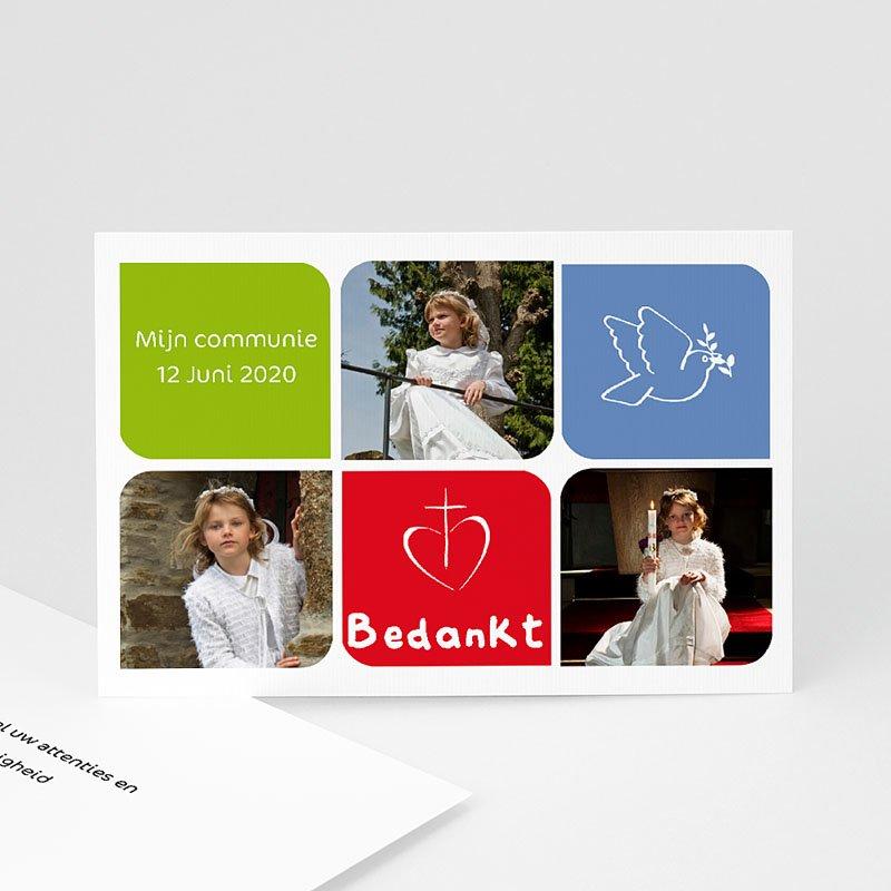 Bedankkaart communie meisje - Moderne communie 10472 thumb