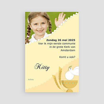 Uitnodiging communie meisje - Geïllustreerde communie - 1