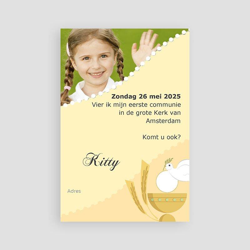 Uitnodiging communie meisje Geïllustreerde communie