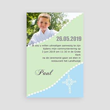 Uitnodiging communie jongen Om de hoek