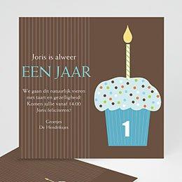 Uitnodiging Verjaardag kind Chocolade met smurfmuffin