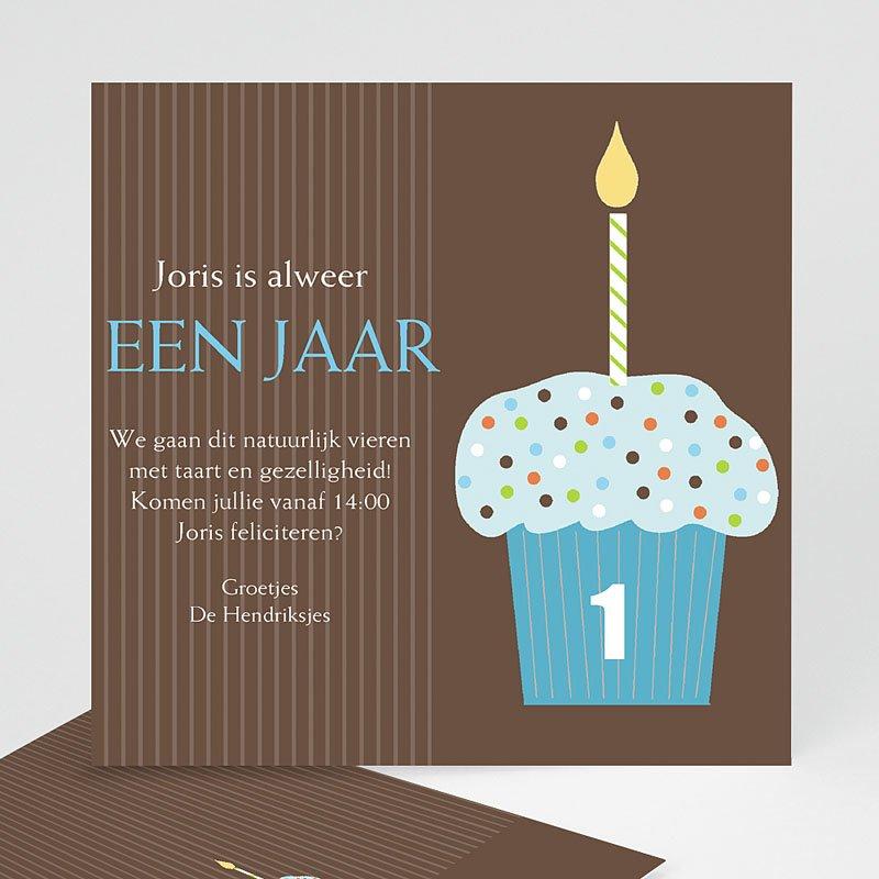 Uitnodigingen Verjaardag Jongen Chocolade met smurfmuffin
