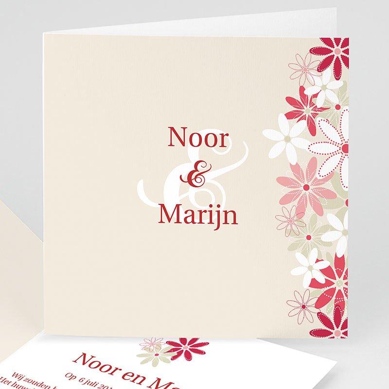 Trouwkaarten Rood Wit Bloemen op licht beige